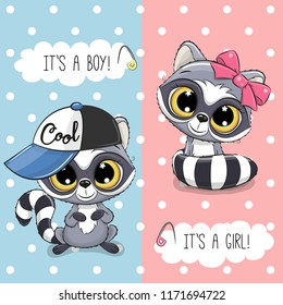 Baby Shower greeting card with Cute Raccoon boy and girl