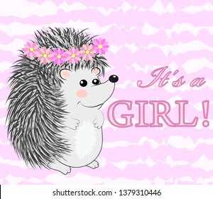 Baby Shower greeting card with a Cute hedgehog girl