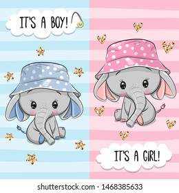Baby Shower greeting card with Cute Elephant boy and girl