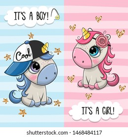 Baby Shower greeting card with Cute Unicorns boy and girl