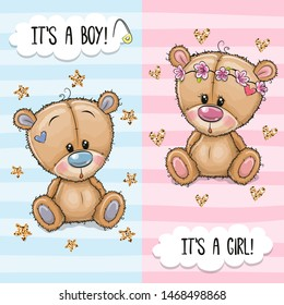 Baby Shower greeting card with Cute Teddy Bears boy and girl