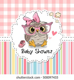Baby Shower Greeting Card with cute Cartoon Owl