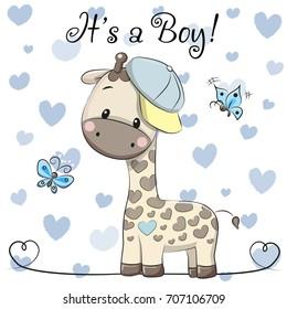 Baby Shower Greeting Card with cute Cartoon Giraffe boy