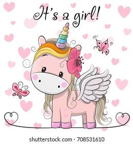 Baby Shower Greeting Card with cute Cartoon Unicorn girl