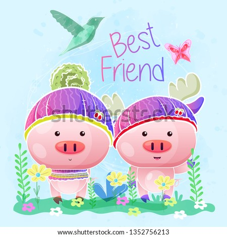Baby Shower Greeting Card Cute Pigs Stock Vector Royalty Free