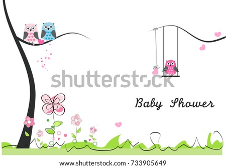 Baby shower greeting card baby girl stock vector royalty free baby shower greeting card baby girl baby owl owl family m4hsunfo