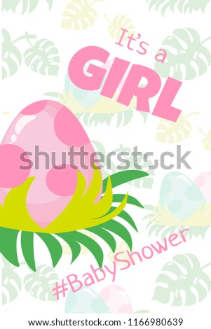Baby Shower Greeting Card Or Invitation With Pink Dinosaur Egg And Text Its A Girl Is Made In Simple Flat Style For Newborn Birthday