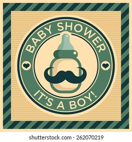 Baby shower greeting card with mustache baby bottle
