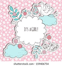 Baby shower greeting card with stork and clouds.