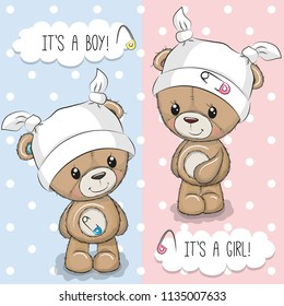 Baby Shower greeting card with Teddy Bears