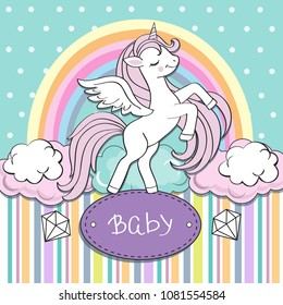 Baby shower greeting card with unicorn on a rainbow background