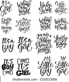 Baby shower hand drawn messages collection.