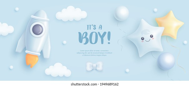 Baby shower horizontal banner with cartoon rocket and helium balloons on blue background. It's a boy. Vector illustration.eps