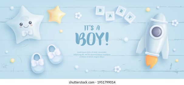 Baby shower horizontal banner with cartoon rocket, shoes, helium balloons and flowers on blue wooden background. It's a boy. Vector illustration