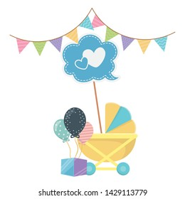 Baby shower icon set design