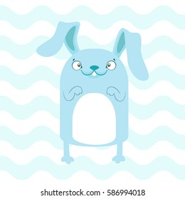 Baby shower illustration with cute blue banny on blue background suitable for baby shower invitation card, postcard, and nursery wall
