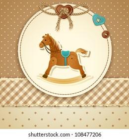Rocking horse images stock photos vectors shutterstock baby shower invitation filmwisefo
