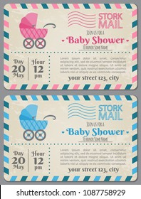 Baby Shower Invitation Arrival Postcard. Set of baby shower invitation card in style postcard. Baby frame with bottle and stickers. It's a boy. It's a girl. Happy mother and baby shower for newborn ce