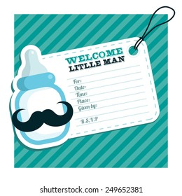Baby shower invitation with blue baby bottle with mustache
