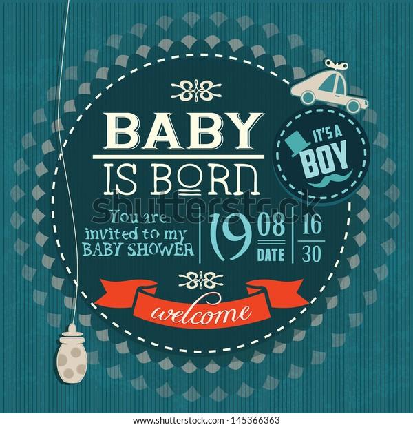 Baby Shower Invitation Baby Boy is Born