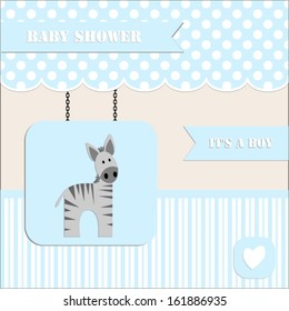 baby shower invitation, for baby boy  polka dot and stripe background with  zebra.Vector eps10,illustration.Raster also available.