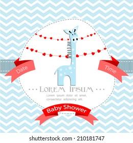 baby shower invitation for boy.Blue chevron background with blue giraffe.Vector eps10,illustration.