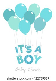 Baby shower invitation for boys. It's a boy vector illustration.