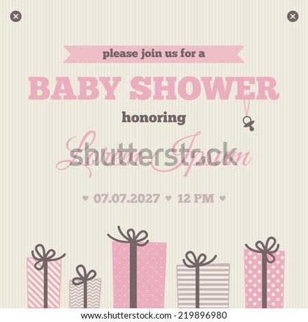 Baby Shower Invitation Brown Pink Cream Stock Vector Royalty Free