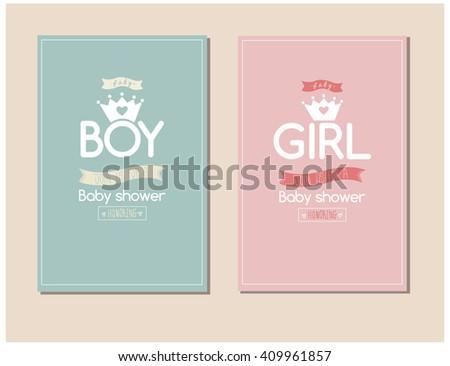 Baby Shower Invitation Card Boys Girls Stock Vector Royalty Free