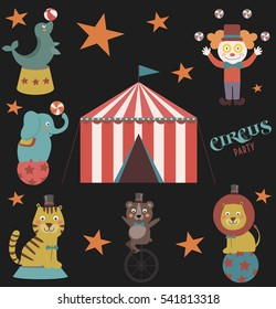 Baby shower invitation card with circus. Vector illustration