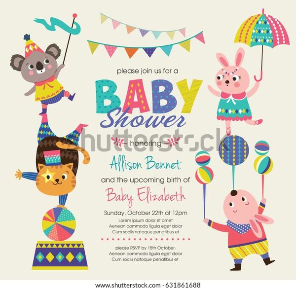 Baby Shower Invitation Card Circus Theme Stock Vector