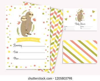 Baby shower invitation card with cute sloths. Template birthday card