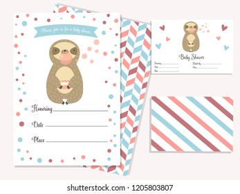 Baby shower invitation card with cute sloth. Template birthday card