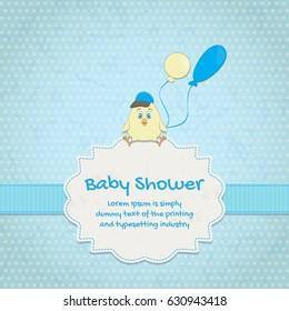 Baby shower invitation card with cute chick
