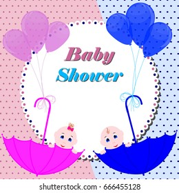 Baby shower invitation card. Cute boy and girl sitting in umbrella. Design invitation or greeting card for baby shower.