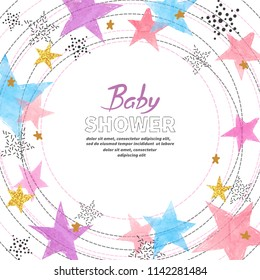 Baby Shower invitation card design with watercolor colorful stars.