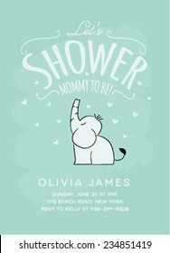 Baby Shower Invitation Card Design with Sitting Elephant