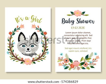 Baby Shower Invitation Card Design Cute Stock Vector Royalty Free