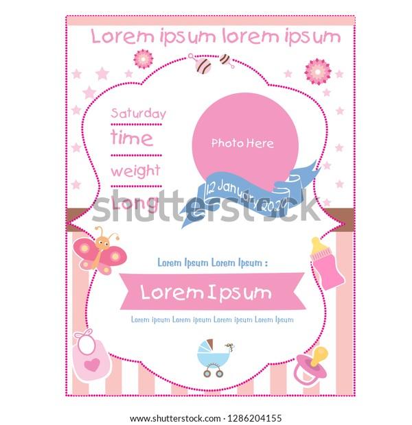 Baby Shower Invitation Card Design Icon Stock Vector
