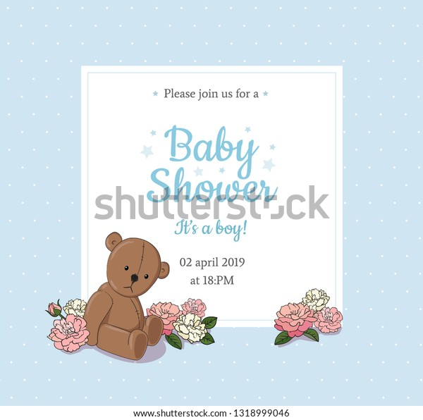 Baby Shower Invitation Card Design Template Stock Vector