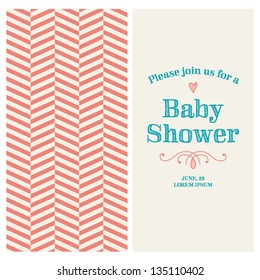 Baby shower invitation card editable type stock vector royalty free baby shower invitation card editable with vintage retro background chevron type font ornaments filmwisefo
