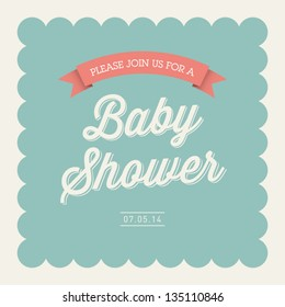 Baby shower invitation card editable with type, font, ribbon, frame border vintage
