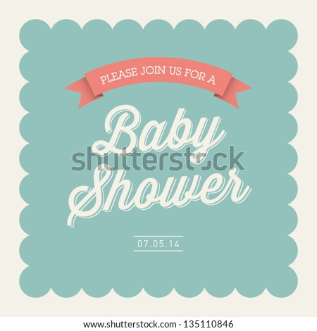 Baby shower invitation card editable type stock vector royalty free baby shower invitation card editable with type font ribbon frame border vintage filmwisefo