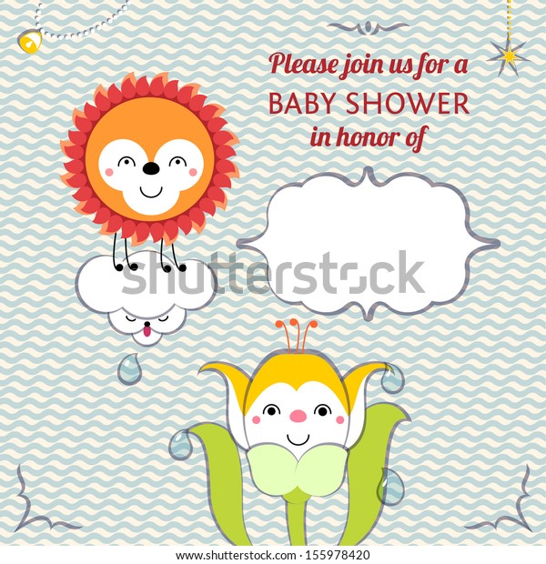 Baby Shower Invitation Card Editable Template Stock Vector