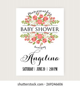 Baby Shower Invitation Card with Flowers