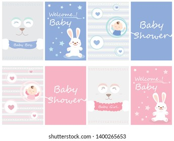 Baby Shower Invitation card with hand lettering and cute cartoons.