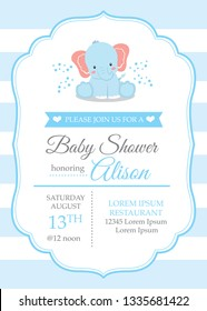 Baby Shower Invitation Card with Illustration of cute elephant, arrival announcement, birthday card, greetings in vector