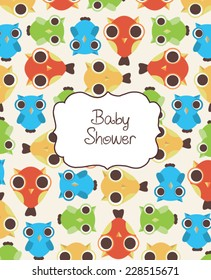 baby shower invitation card with owls