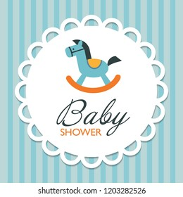 Baby Shower Invitation Card with Rocking Horse. Cute Cartoon Style. Decorative Design for the Newborn Boy. Vector Illustration.