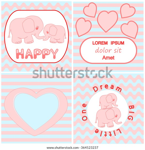 Baby Shower Invitation Card Set Including Stock Vector Royalty Free 364523237